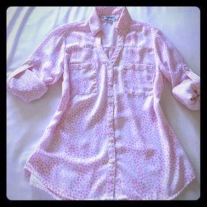EUC Express Portofino blouse Pink and White XS